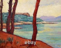 Jean Lubet, Saint-Tropez, Var, tableau, paysage, mer, plage, France, symbolisme