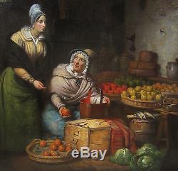 Jean-baptiste Van Eycken Tableau Peinture Marchande Fruits Legumes Peintre Belge