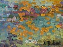 Jeanne DUBUT tableau huile paysage marine Côte d'Azur pointilliste divisionniste