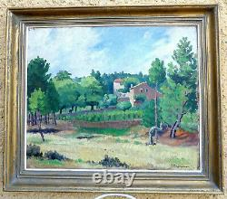 Jehan Berjonneau 1890-1972. Grand Paysage Dardèche A Ucel, Le Mas De L'artiste
