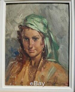 Joli portrait de jeune tsigane huile sur panneau tableau ancien signé cadre bois