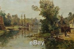 Jolie rivière animée, Maurice Lévis (1860-1940) Barbizon