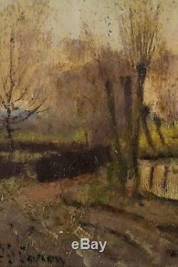 Joseph Caron, 1866, Bord de rivière au coucher de soleil, Cotation 1.000 euros