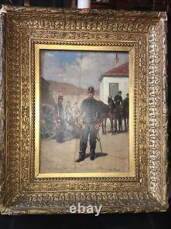 Jules Antoine Voirin 1833/1898 Huile Sur Bois Garnison Militaire Trompette Signé