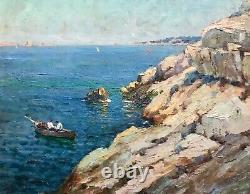 Jules Brunetaut Tableau Marine Huile Sur Panneau Bateaux Pêcheurs Rade Marseille