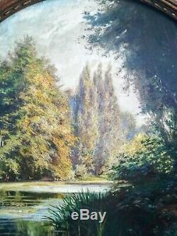 Jules Girardet, Huile sur panneau 50 cm, Sous-bois au bord de l'eau, fin 19/déb