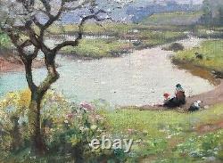 Jules Hervé Mathé Peinture Originale Hst Femme Enfants Au Bord Dun Bras De Mer
