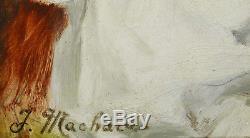 Jules Machard Et Pascal Blanchard Paire Tableau Portrait Enfant Jeune Fille Art