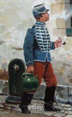 Jules Monge 1855-1934. Charmant Tableau. Un Soldat De 14-18 Jouant Avec Un Chat
