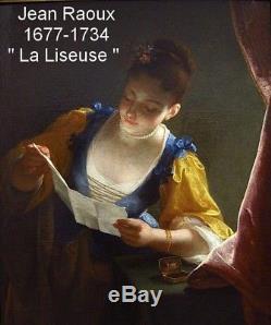 LA LISEUSE. MAGNIFIQUE UVRE XVIIIe. ATELIER & SUIVEUR DE JEAN RAOUX 1677-1734