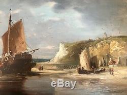 LEON BRARD Rare Peinture HSP Marine Bord De Mer XIX (1830-1902)