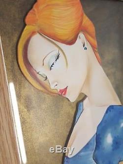 LULU AMERE- peinture érotique à l'huile sur bois découpé encadrée, 31x25cm