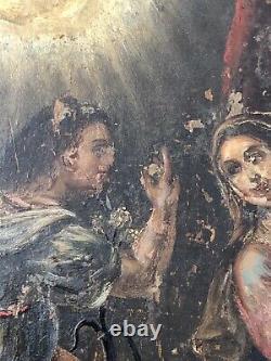 L'ANNONCIATION Peinture 17ème siècle + Cadre dépoque