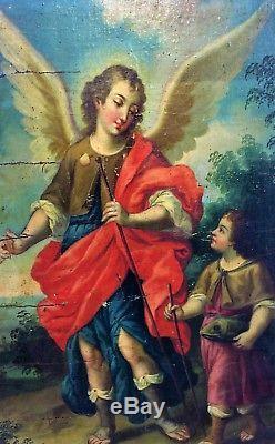 L'archange Saint Raphael. Huile Sur Toile. Collé Sur Bois. Espagne. Xviie