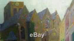 L'église de Cassel en 1930, huile/bois Simon Monnatte (1894-1945) Scéne animée