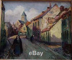 La Bretagne Des Peintres Impressionnistes 1930. Rue Animée De Village. Signé
