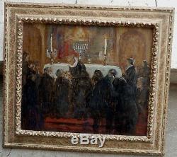 La Communion Vers 1900. Grand & Beau Tableau Symboliste. Proche Maurice Denis