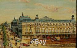 La Gare d'Orsay, 1925, Paris, Superbe Naïf Signé Bergez