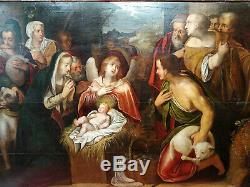 La Nativité huile sur bois vers 1630-60 Flandres