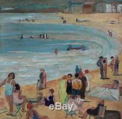 Lalgérie Des Peintres 1950. Grand & Beau Tableau. Plage Animée A Alger. C. B