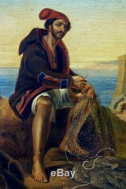 Le Pêcheur Napolitain, 1830, Ecole Italienne, Cadre 1890! Petit Format