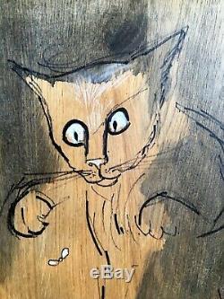 Le chat chasseur (de moucherons) Pigment et encaustique sur bois 47 cm x 55 cm