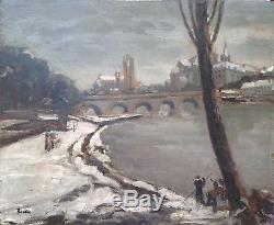 Leonard Bordes Peinture 30/40 Hsp Ville Et Fleuve Sous La Neige École De Rouen