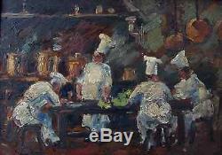 Les Cuisiniers. Rare & Puissant Tableau 1920. Le Charme D'une Uvre De Soutine