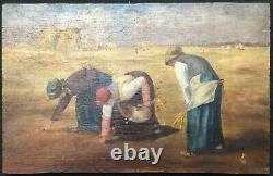 Les Glaneuses d'après Jean- François Millet peinture sur bois XIXe monogramme