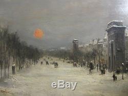 Les Grands Boulevards, Robert Mols (1879), huile sur bois, impressionniste
