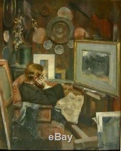 Lievin HERREMANS (1858-1907) Belgique Superbe scène atelier 1893