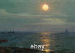 Lionel WALDEN tableau huile marine peintre américain Bretagne nocturne bateaux