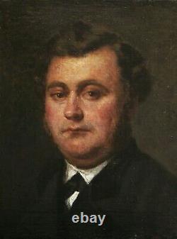 Louis Alexandre DUBOURG tableau huile portrait homme peintre NORMANDIE Honfleur