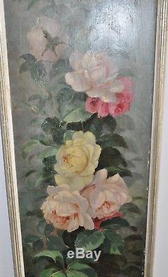 Louis Darey 1863 -1914 Huile sur bois Bouquet de Roses France