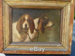 Louis Darey (1863-1914) couple de griffons chasse chien huile sur bois signée