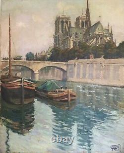 Louis Frennet Tableau Hst Notre Dame De Paris La Seine 1926 Original French Art