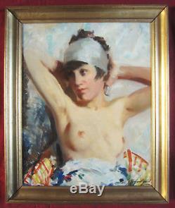 Lucien Henri Grandgerard Tableau Femme Nue Danseuse Nude Woman Dancer Painting