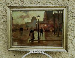 MAGNIFIQUE IMPRESSIONNISTE XIXe PARIS NOCTURNE ANIMÉ. LUIGI LOIR 1845-1916