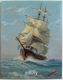 Marine Bateau Ancien Voile Voilier Signe Nard Xx Ref 1