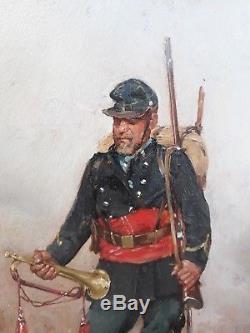 MARIUS ROY MILITAIRE SOLDAT TROMPETTE PEINTURE PORTRAIT 1870 FRANCAIS HUILE 19e