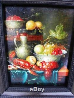 MATOLD R. Ecole du XXème Nature morte aux homard et citron Huile sur panneau