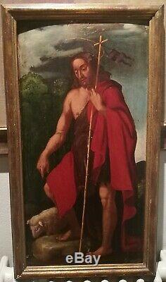 Magnifique Ouevre 16eme D´ecole Italienne Manieriste Saint Jean Baptiste
