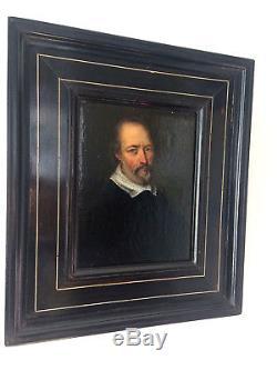 Magnifique portrait XVIIe 17ème daté 1649 avec un cadre à incrustation d'os