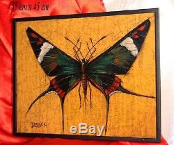 Marcel Desban Papillon Exotique Papillon d'Amazonie Lepidoptera Huile signée