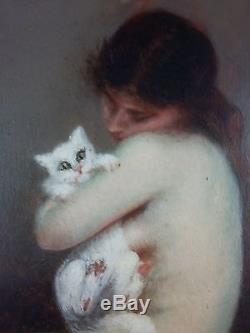 Maria Labat Ancien Tableau Peinture Huile Original Antique Oil Painting Old
