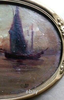 Marine ancienne, provençale ou orientaliste / Port au crépuscule / Signature