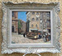 Marseille 1920. Vieux Port Animé. Grande & Lumineuse Peinture Impressionniste