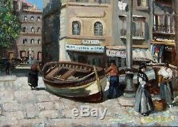 Marseille Vieux Port 1920. Lumineux Tableau Impressionniste. Marcel Leprin