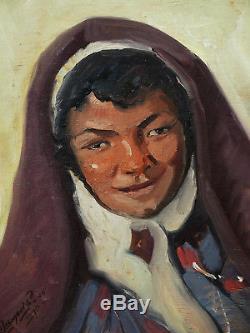 Maurice BISMOUTH tableau portrait femme tunisienne juive Tunisie peintre juif