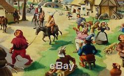 Maurice Juncker, 1946, La Fête au Village! Exceptionnel Grand Naïf! Top Qualité